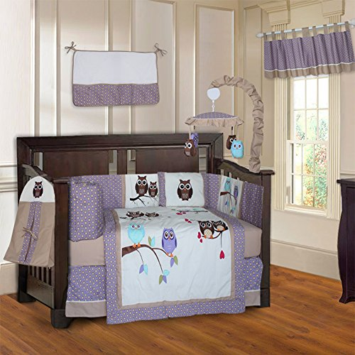 Babyfad Owl Purple 10 Piece Baby Crib Bedding Set