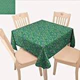 """longbuyer Feather Wrinkle Free Tablecloths Peacock Feathers Peafowl Ethnic Eastern Spiritual Boho Positive Design Table Cloths Spill Proof Jade Green Blue Caramel W 54"""" x L 54"""""""