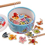 Honlese Fishing Toys For Fun Wooden Kids Puzzles Board Magnetic Fishing Games