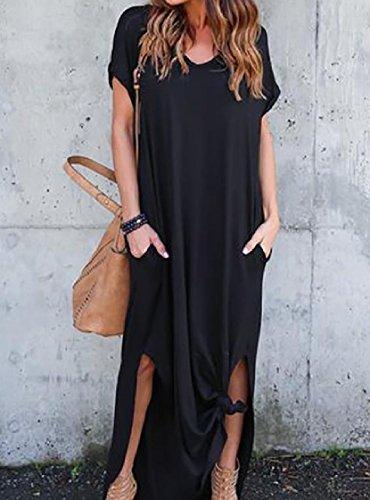 Coolred-femmes Split Couleur Unie Manches Courtes Tricot Longue Noire Robe De Soirée