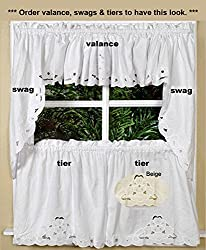 Lace Cutwork Kitchen Curtain Valance, Tiers or Swags ECRU BEIGE