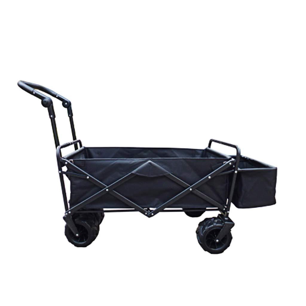 屋外ガーデントロリー、折りたたみ、便利な旅行キャンプ頑丈な休日プッシュプル車、テールポケット延長、大容量負荷80キロの4輪オフロードホイール回転トロリー (色 : 黒) B07GRRQRF1 黒