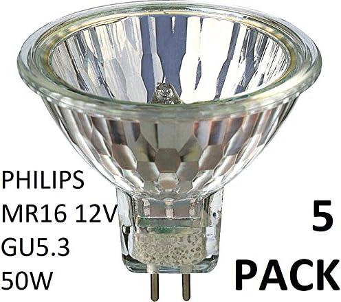 Philips 58845100 - Bombilla halógena (5 unidades, 12 V, MR16, 50 W, GU5.3, 36D, 4000 horas, regulable)