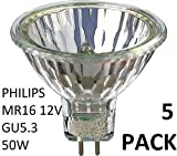 5Pack Philips Halogen 12V MR16 50W GU5.3 36D 4000Hrs Dimmable Halogen Dichroic 58845100