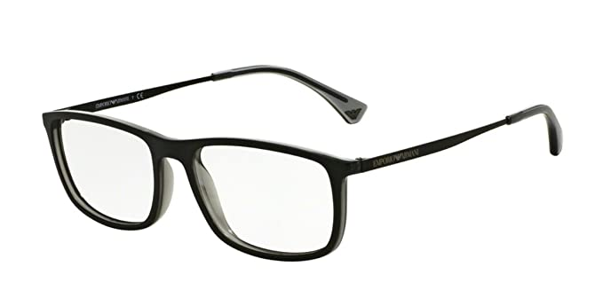 Armani EA3070 Eyeglass Frames 5468-54 - Matte Black/grey Transp at ...