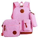 Fanci 3Pcs Polka Dot Waterproof Middle High School Bookbag Rucksack Daypack for Girls