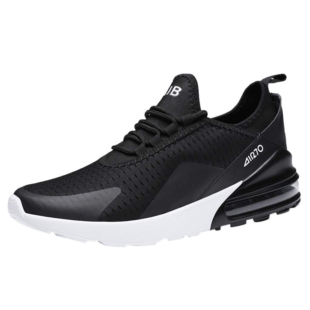 Mens Air Cushion Sneakers -Sport Mesh Ultra Lightweight Breathable Athletic Running Walking Shoes (Black, EU:44/US:9.5)