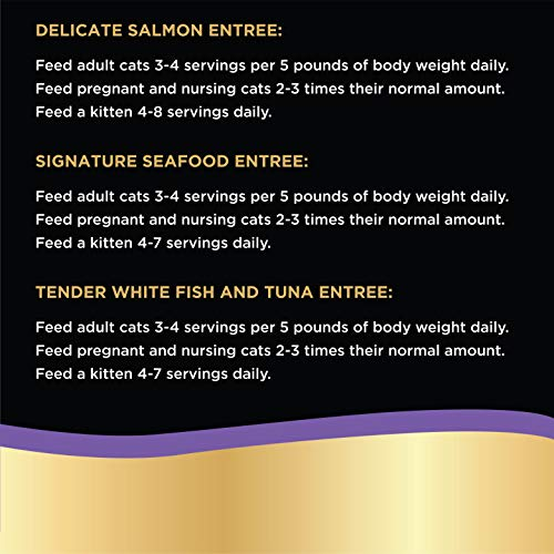 SHEBA PERFECT PORTIONS Wet Cat Food Paté in Natural Juices Signature Seafood Entrée, Delicate Salmon Entrée, and Tender Whitefish & Tuna Entrée Variety Pack, (24) 2.6 oz. Twin-Pack Trays