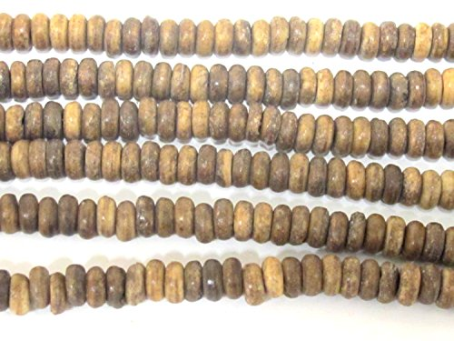 (125 beads - Small size Brown color spacer donut bone beads 6 - 7 mm round disc beads - HB071A)