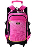 Coofit Rolling Backpack for Girls Kids Backpack with 6 Wheels (Large, Pink)