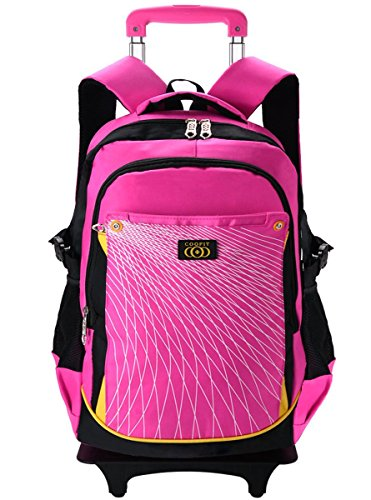 Coofit Rolling Backpack for Girls Kids Backpack with 6 Wheels (Large, - Pink Backpacks Wheeled