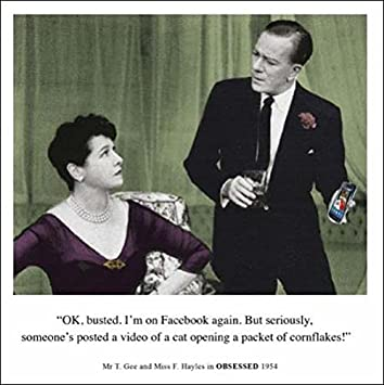 On Facebook Again Funny Birthday Greeting Card Retro Humour Drama Queen Cards