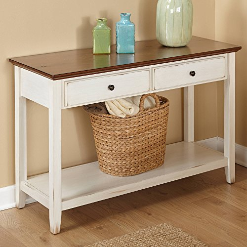 Classic Console Table with 2 Roomy Drawers and 1 Shelf, Durable Engineered Wood and Particle Board Construction with Solid Wood Legs, Top in Distressed Chestnut Finish with Distressed Off-White ()