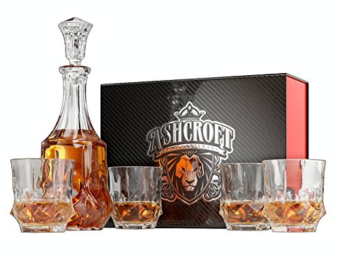5-Piece Imperial Whiskey Decanter Set. 4 Glasses and Scotch Decanter with Stopper - Unique Elegant Dishwasher Safe Glass Liquor Bourbon Decanter Ultra-Clarity Glassware by ()
