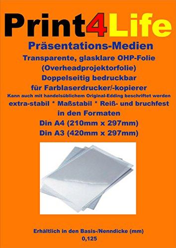 100 Blatt A4 Glasklare transparente beidseitig bedruckbare Reiß- und bruchfeste Overheadfolie (OHP Transparentfolie Transparentpapier) nur mit Farblaserdrucker, s/w Laserdrucker und Kopierer für eindrucksvolle Präsentationen mit Overheadprojektoren in Farbe