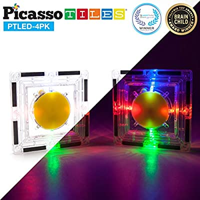 Kids Toy Building Block LED Night Light Set Children Construction Kit Magnet Tiles Magnetic STEM PicassoTiles 4pc Interconnect Interlocking Playboards Educational Learning Stacking Glow in the Dark: Home Improvement