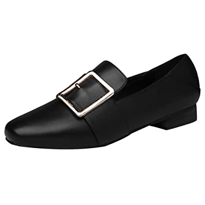 Passionow Women's Fashion Metal Buckle Slip-on Patent Leather Casual Solid Ballet Flat Loafers