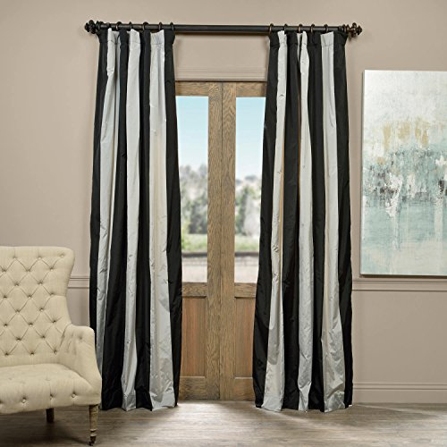 Half Price Drapes PTSCH-ST8004-96 Faux Silk Taffeta Stripe Curtain, Berlin, 50