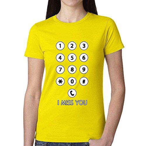Customized Keyboard icon Women Crew Neck T Shirts Yellow