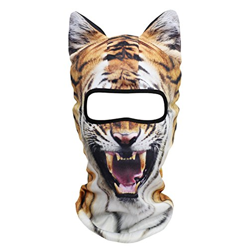 JIUSY 3D Animal Ears Balaclava Breathable Cover Hood Face Mask Sun Protection for Skiing Snowmobile Riding Hunting Music Festivals Raves Halloween Party Activities Ferocious Tiger -