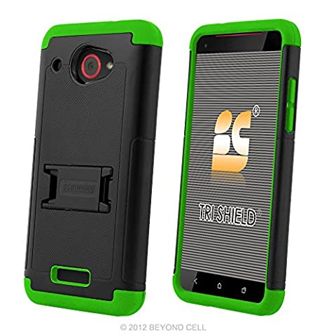 HTC Droid DNA Case, 6435, PimpCase Durable Hybrid Rugged [Full Body Protection] Armor Shockproof Neon Green Black Phone Cover With Built In Kickstand And Screen (Cover Htc Droid Dna 6435)