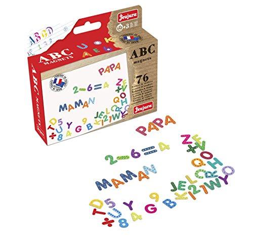 Jeujura JeujuraJ8972 76 Pieces Alphabet Letters and Figures Magnets, Multi-Color