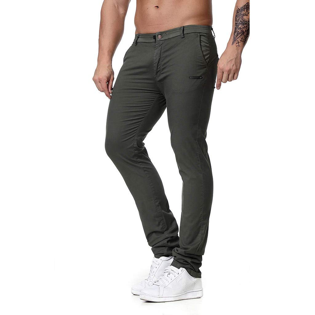 Palarn Casual Athletic Cargo Pants Clothes, Fashion Men's Regular Fit Solid Color Pants Casual Trousers Work Pants Gray
