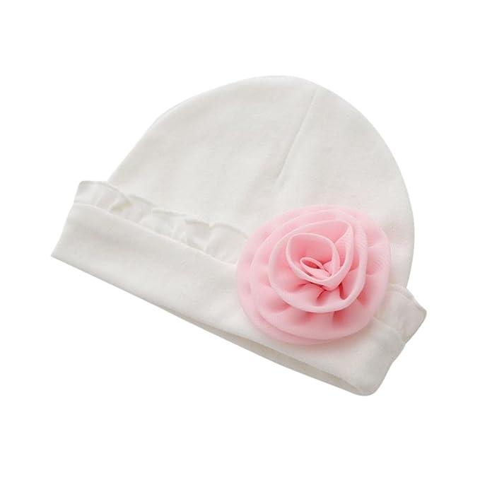 feiXIANG Cappello del bambino Neonata appena nata delle bambine Berretto  fiore cappello in cotone soft Hat-Lunghezza  18cm   Altezza  13cm (Bianco)   ... e86345a19a2b