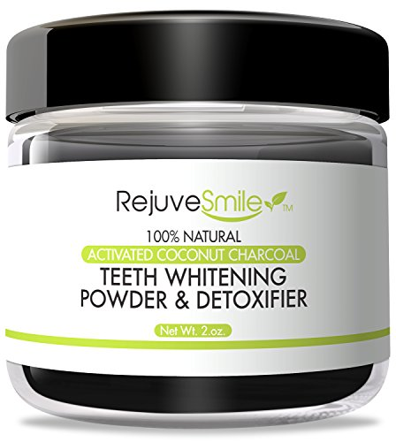 RejuveSmile Activated Charcoal Powder for Teeth Whitening & Detox, With Kaolin Clay, Organic Coconut Oil, 2 oz. ~ 100% Natural, 6 Month Supply ~ Made in America With No Microbeads, or Fluoride