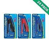 Office Stapler, Case Of 24 Staplers For School Desk Paper With 500 Staples