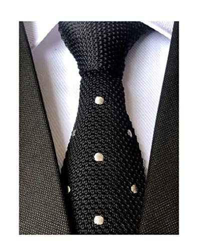 Secdtie Mens Boy Black Knitted Neck Tie with White Dots Accessory Formal Necktie
