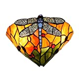 FUMAT Tiffany Wall Lamp Sconces Stained Glass Dragonfly Wall Lighting Fixture Bedroom Mirror Front Light