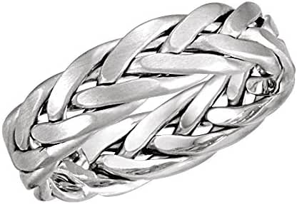 14k White Gold 6.5mm Hand Woven Band with Matte Finish Size 6 , 14kt White gold, Ring Size 6