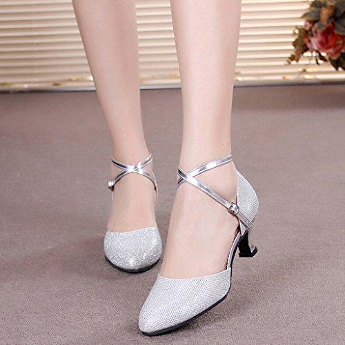 Pour Sequins Aymypl Femmes Argent Chaussures Latines Semelle 5 Chaton Salle Danse Talon Cuir Bout 5 En Bal De Pointu ZHqq5dI