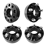 """4PCs 38.1mm (1.5"""") 5x5 Hubcentric Black Custom Wheel Spacers 71.5mm bore, 1/2""""-20 Studs & Nuts) for Jeep Wrangler/Commander/Grand Cherokee, etc."""