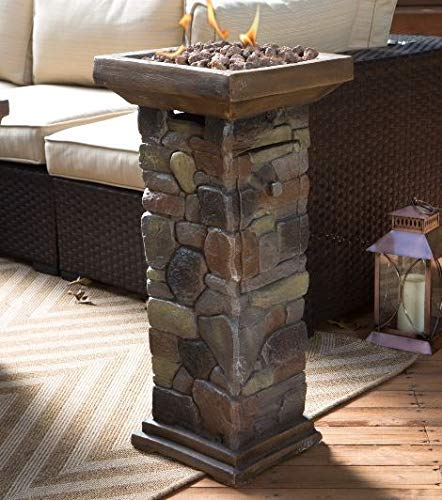 Jar Outdoor- Firepit Table for Outside-Portable Propane Fire Pit-Cozy Fire Ambiance for Nights Spent at Your Patio-Color Brown Resin Stone Mini Fire Column