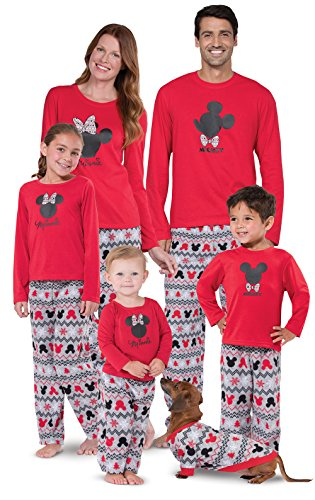PajamaGram Mickey Mouse and Minnie Mouse Matching Family Pajamas, Red, Men Medium