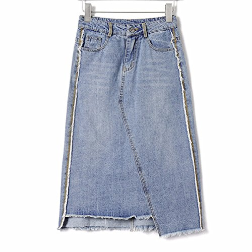0a9f2fdfa QPSSP vaquero Faldas de cintura alta Light-Colored largos e ...