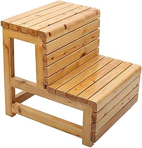 Taburete de escalera Taburete de cama Taburete de madera antideslizante resistente al agua de madera maciza No es necesario instalarlo, 3 colores, 2 pasos de doble uso (Color: C, Tamaño: 42x46x45cm): Amazon.es: