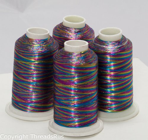 NEW ThreadNanny 4 MULTI-COLOR METALLIC MACHINE EMBROIDERY THREAD CONES by ThreadNanny