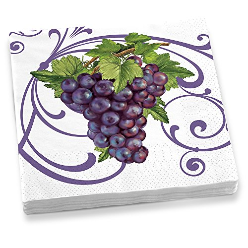 Epic Products Vineyard Grapes Dinner Napkins (20 Pack), Multicolor