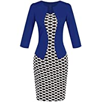 Birdfly Office Women's Plaid Patchwork Pencil Skirts Formal Working Dress with Three Quarter Sleeve.Plus Size 2L 3L