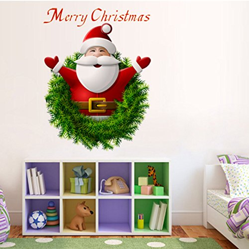 2 Pcs Christmas Windows Stickers Wall Stickers, 3D Santa Claus Merry Christmas Decoration Removable Wall Sticker Festive Children Decor Holiday Door Window Decoration