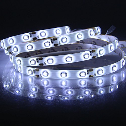 XKTTSUEERCRR 3528 SMD 16.4Ft 5Meter 300LEDs Cool White Flexible Waterproof Strip Lighting With 12 key Switch IR Remote LED Dimmer Controller and DC Connector (Power Supply Is Not Included)