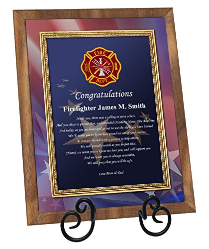 Firefighter Academy Graduation Gift Fire School Graduate Present Walnut Plaque with Easel Personalized Fireman Poetry Fire Fighter Student (Regular 8x10) ()