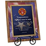 Firefighter Academy Graduation Gift Fire School Graduate Present Walnut Plaque with Easel Personalized Fireman Poetry Fire Fighter Student (Regular 8x10)