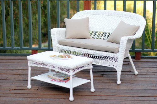 Jeco Wicker Patio Love Seat and Coffee Table Set with Tan Cushion, White