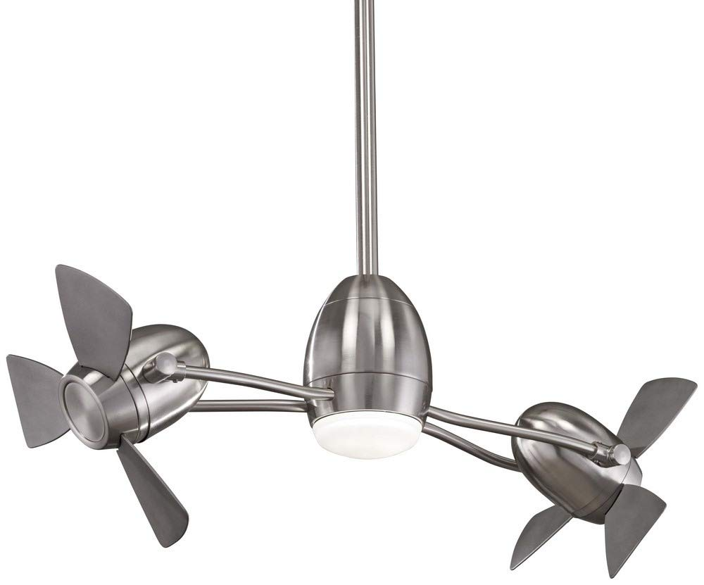 Minka-Aire F304L-BN SL, CageFree Gyro 42 Ceiling Fan with LED Light Kit, Brushed Nickel Finish with Silver Blades