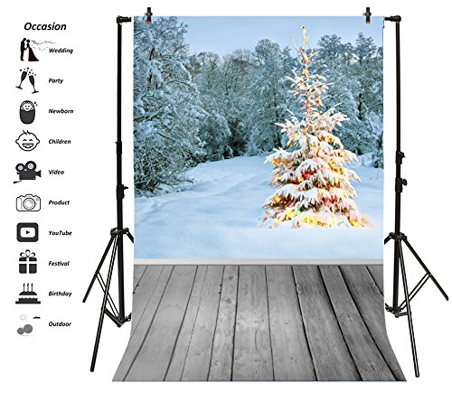 Frost Natural Wood - Leyiyi 8x10ft Photography Backdrop Merry Christmas Background Frost Forest Pine Colored Lights Snow Happy New Year Wood Floor Outdoor Photo Portrait Vinyl Video Studio Prop