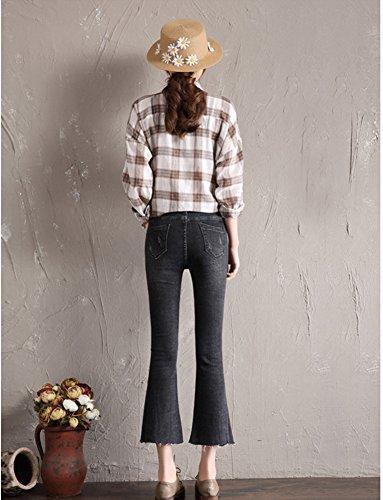Mezclilla De Mujer Pantalones Pantalon Negro Jeans Boyfriend Cintura Suelto Vaqueros Alta Elástico Anchos Ajuste wUxfqXgU